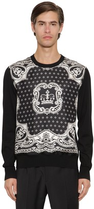 Dolce & Gabbana SILK TWILL & VIRGIN WOOL KNIT SWEATER