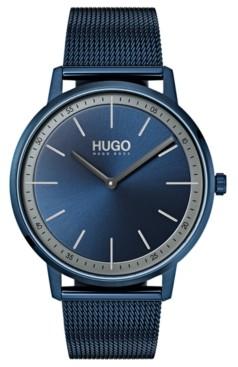 HUGO Men's #Exist Ultra Slim Blue Ion-Plated Stainless Steel Mesh Bracelet Watch 40mm