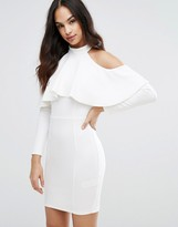 Lipsy Cold Shoulder Bodycon Dress With Ruffle Detail