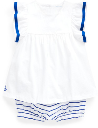 Ralph Lauren Top & Striped Bloomer Set