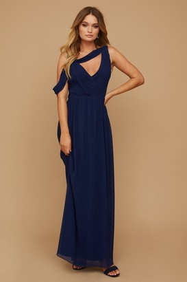 Little Mistress Bridesmaid Sasha Navy Asymmetric Cut-Out Detail Maxi Dress