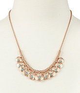 Lucky Brand Turquoise & Hammered Metal Disc Collar Necklace