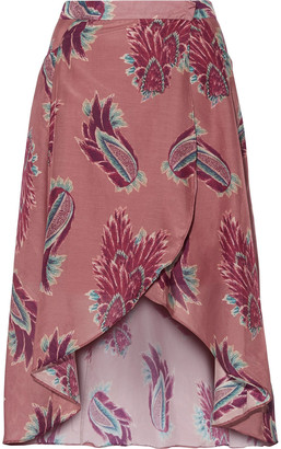 Vix Paula Hermanny June Printed Cotton And Silk-blend Maxi Wrap Skirt