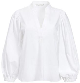 Alice + Olivia Casey Mandarin Collar Blouson-Sleeve Top