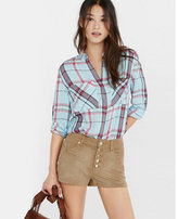 Express mint white and red plaid oversized shirt