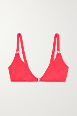 Melissa Odabash Montenegro Embellished Stretch-jacquard Bikini Top - Red