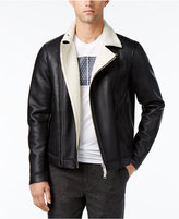 Armani Exchange Men's Faux Leather Blouson Zip Jacket with Sherpa Lining