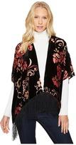 Bindya Burgundy Floral Velvet Kimono Women's Clothing