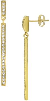 Savvy Cie 18K Gold Vermeil Linear CZ Drop Earrings