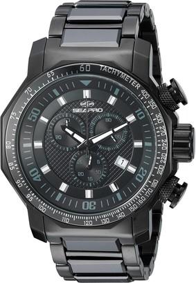 Seapro Men's SP6120 Coral Analog Display Swiss Quartz Black Watch