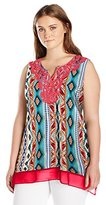 Notations Women's Plus-Size Sleeveless Split Neck Printed Top with Neck Crochet Trim