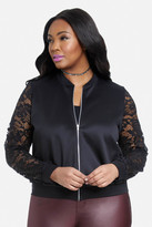 Fashion to Figure Tracey Lace Sleeve Bomber Jacket