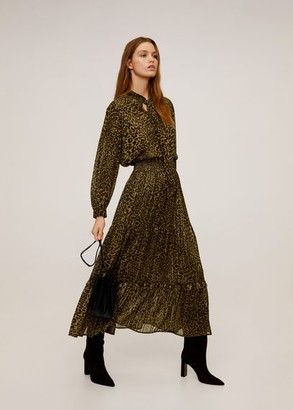 MANGO Metallic thread leopard-print skirt