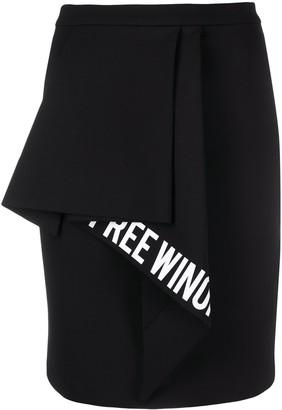 Off-White Slogan-Print Ruffled-Detail Skirt