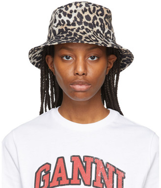 Ganni Beige and Black Recycled Tech Leopard Bucket Hat
