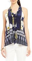 Antonio Melani Tini Printed Silk Tie Neck Blouse