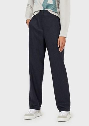 Emporio Armani Mixed-Cashmere Flannel Trousers