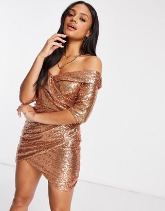 Club L London Club L sequin bardot mini dress and wrap skirt in rose gold