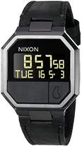 Nixon Men's 'Re-Run Leather, All' Japanese Stainless Steel Automatic Watch, Color:Black (Model: A944-001-00)