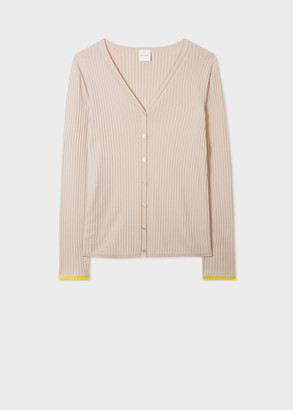 Paul Smith Women's Beige Cotton-Blend Ribbed Cardigan