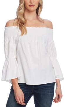 Vince Camuto Petite Off-The-Shoulder Bell-Sleeve Top