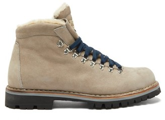 Montelliana Moena Shearling-lined Suede Hiking Boots - Mens - Grey
