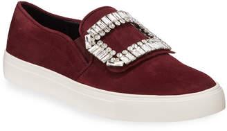 Karl Lagerfeld Paris Ermine Crystal Embellished Suede Slip-On Sneakers