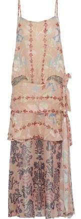 Anna Sui Layered Printed Fil Coupe Silk-blend Midi Dress