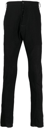 Masnada Asymmetric Fly Striped Cotton Blend Trousers