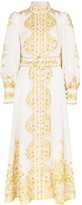 Zimmermann printed belted cotton linen midi dress