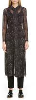 Comme des Garcons Floral Print Georgette Long Sleeve Midi Shirtdress