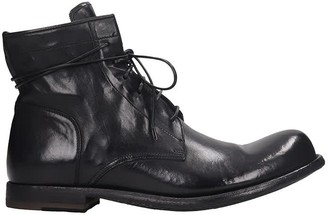 Officine Creative Bubble 079 Combat Boots In Black Leather