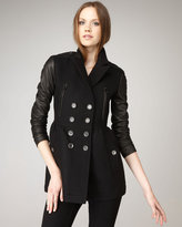 Burberry Brit Leather-Sleeve Double-Breasted Coat