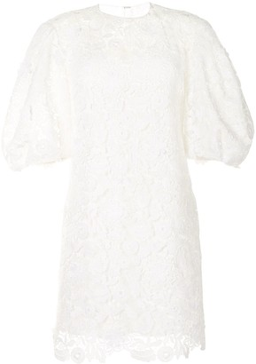 Carolina Herrera Puff-Sleeve Lace Dress
