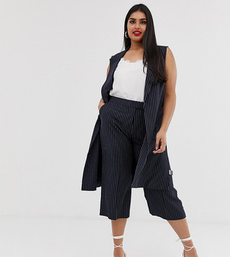 Simply Be Tailored culottes in navy pinstripe