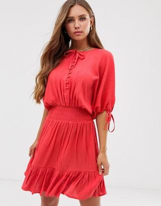 Asos Design DESIGN short sleeve mini dress with elasticated waist in crinkle