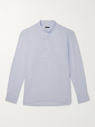 Guru Grandad-Collar Striped Linen Half-Placket Shirt