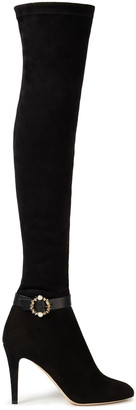 Jimmy Choo Buckled Embellished Suede Over-the-knee Boots