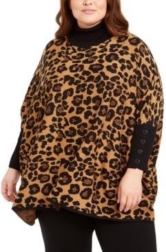 Anne Klein Plus Size Metallic Leopard-Print Poncho Sweater