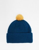 Paul Smith Wool Bobble Beanie Hat - Blue