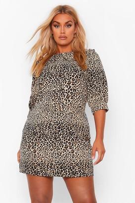 boohoo Plus Leopard Collar Woven Shirt Dress