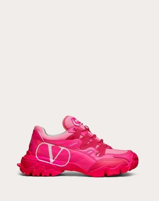 Valentino Climbers Sneaker In Calfskin Leather And Fabric Women Neon Pink/white Polyamide 100%, Calfskin 37