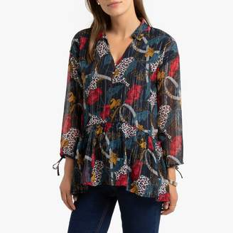 Kaporal Gathered Floral Print Blouse with Basques and Long Sleeves