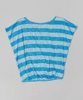 Erge Blue Stripe Dolman Top - Girls
