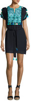 Figue Short-Sleeve Embroidered Dress, Navy/Turquoise