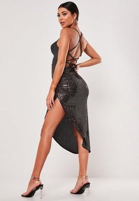 Missguided Glitter Slinky Lace Up Back Midi Dress