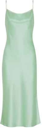 Alice + Olivia Harmony mint satin midi dress