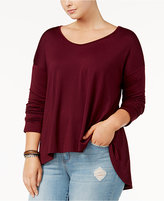 Say What Trendy Plus Size Long-Sleeve Swing Top
