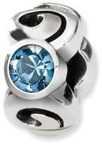 Reflections Sterling Silver by SimStars March Swarovski Crystal Birthstone Bead Charm