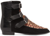 Isabel Marant Rowi Leather, Suede And Leopard-print Calf Hair Boots - Leopard print